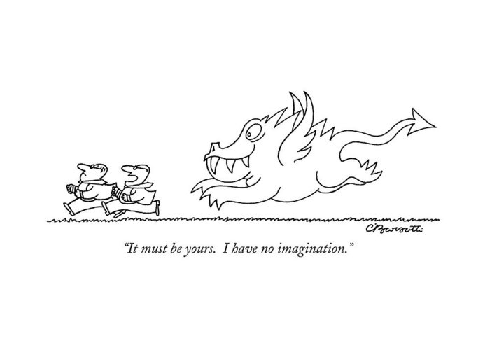 Running Greeting Card featuring the drawing It Must Be Yours. I Have No Imagination by Charles Barsotti