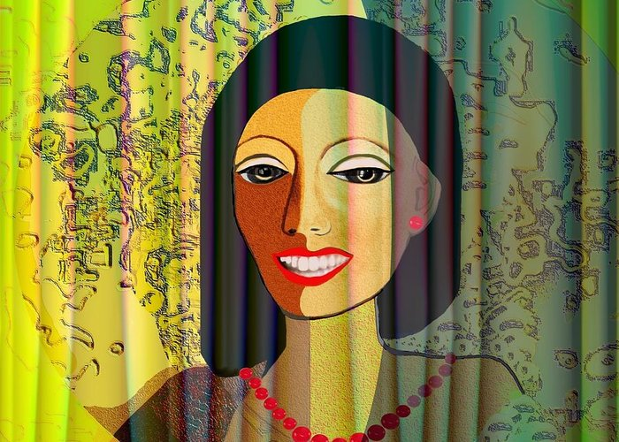 Woman Greeting Card featuring the digital art 416 - Lady With Nice Teeth by Irmgard Schoendorf Welch