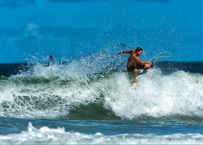 Surfing Framed Prints Photographs Greeting Card featuring the photograph Surfing Fun by David Faison