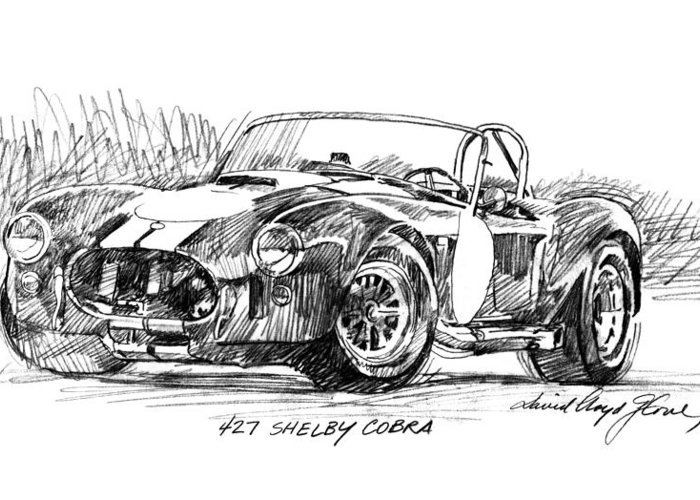 Drawing Greeting Card featuring the drawing 427 Shelby Cobra by David Lloyd Glover