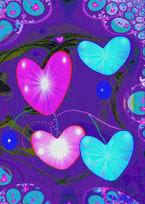 Abstract Greeting Card featuring the painting 472 - Valentine Hearts ... by Irmgard Schoendorf Welch