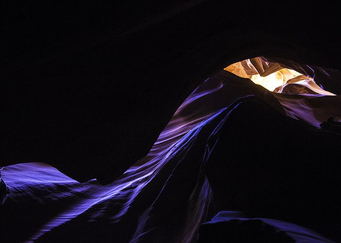 Antelope Canyon Greeting Card featuring the photograph #4729 Amber Blues by Fred Holmstock