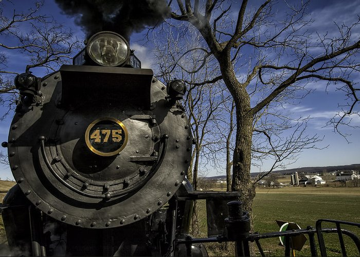 Strasburg Rr Greeting Card featuring the photograph #475 Steam Engine On The Strasburg Rr 04 by Mark Serfass
