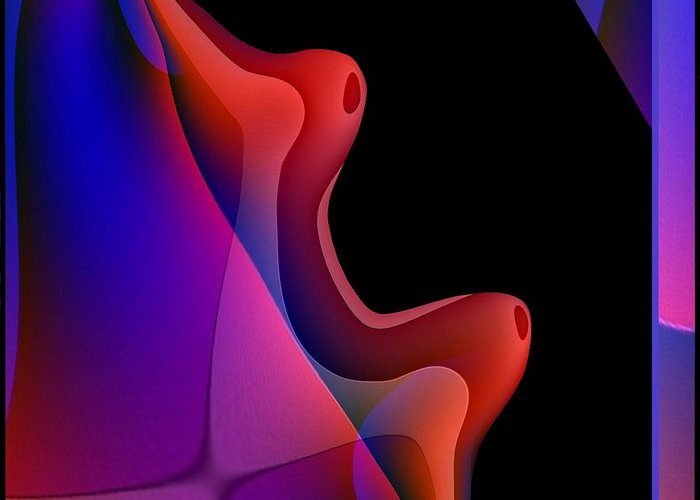 Abstract Greeting Card featuring the digital art 495 - Red Hot Fantasy by Irmgard Schoendorf Welch