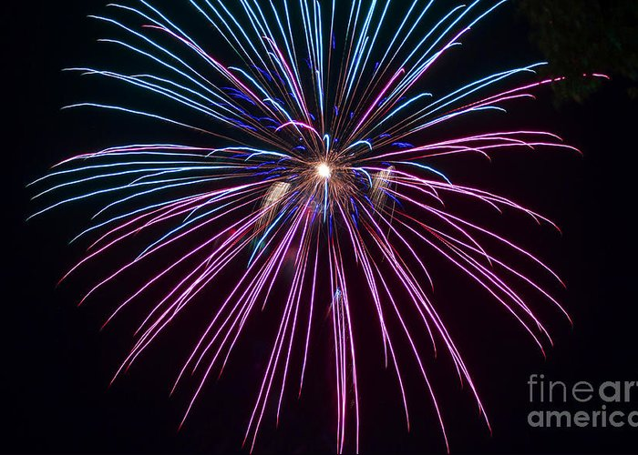 Clarksburg West Virginia Greeting Card featuring the photograph 4th Of July 2014 Fireworks Bridgeport Hill Clarksburg Wv 1 by Howard Tenke