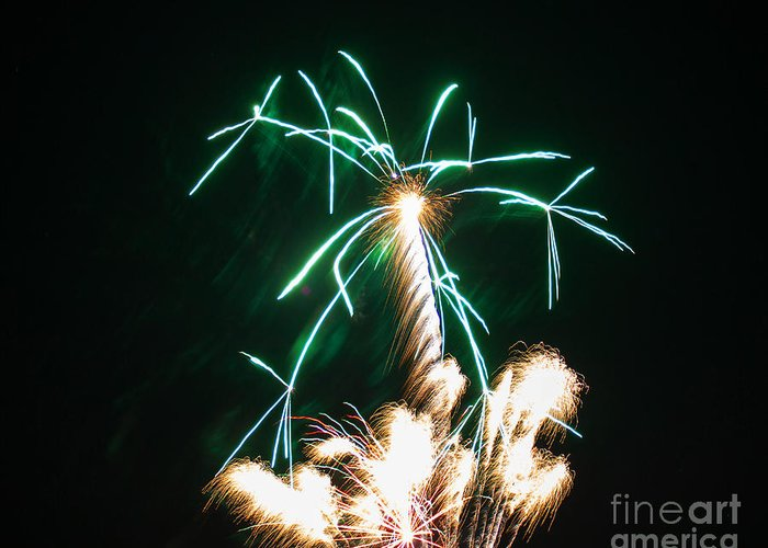 Clarksburg West Virginia Greeting Card featuring the photograph 4th Of July 2014 Fireworks Bridgeport Hill Clarksburg Wv 2 by Howard Tenke
