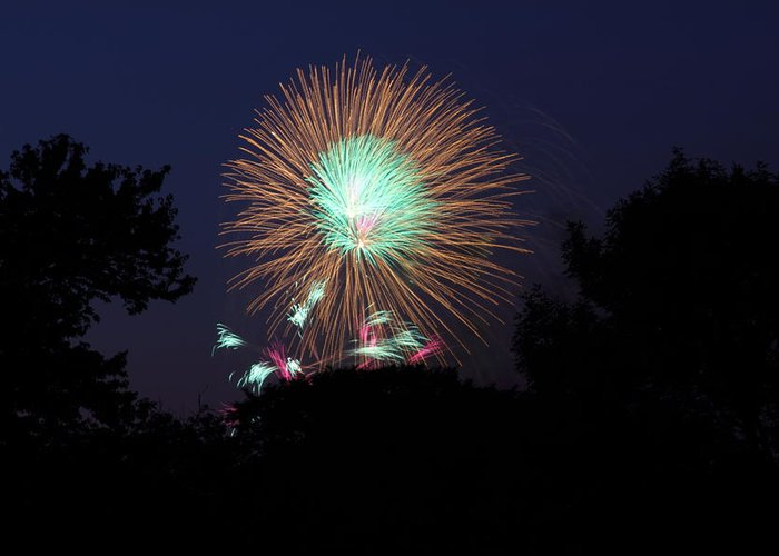 Washington Greeting Card featuring the photograph 4th Of July Fireworks - 01134 by DC Photographer