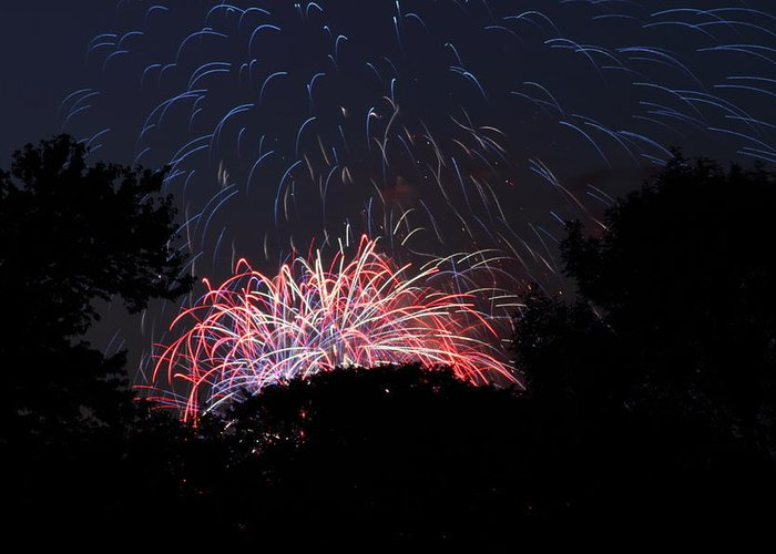 Washington Greeting Card featuring the photograph 4th Of July Fireworks - 01135 by DC Photographer