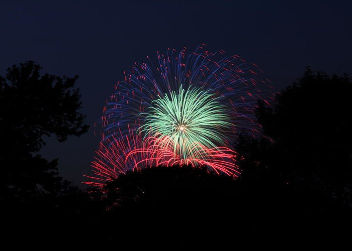 Washington Greeting Card featuring the photograph 4th Of July Fireworks - 01137 by DC Photographer