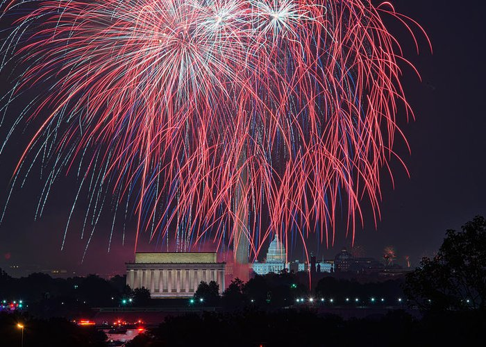 Mark Whitt Greeting Card featuring the photograph 4th Of July Fireworks by Mark Whitt