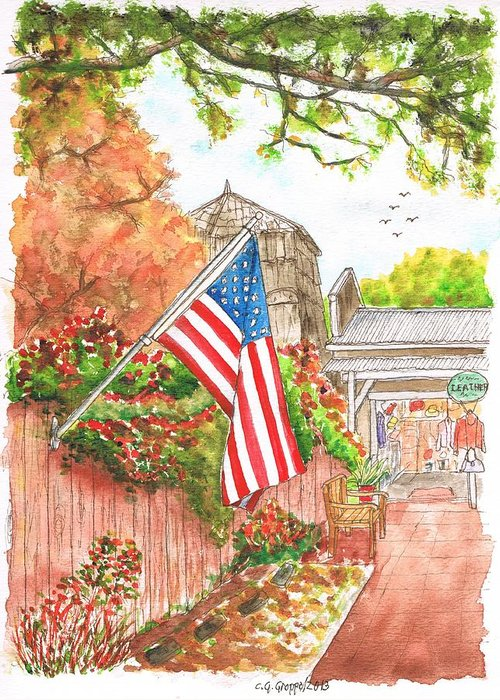 Flag Greeting Card featuring the painting 4th Of July In Los Olivos, California by Carlos G Groppa