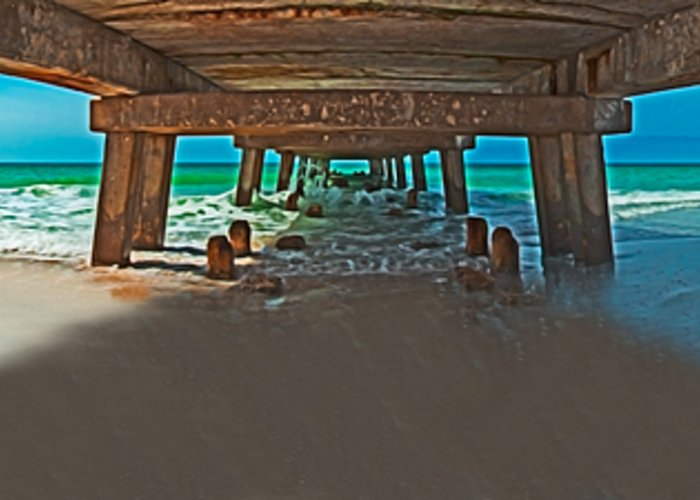 Fishing Pier Greeting Card featuring the photograph 4x1 Under Fishing Pier by Rolf Bertram