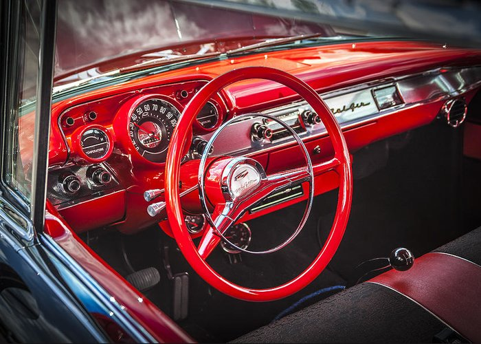 V8 Engine Greeting Card featuring the photograph 1957 Chevrolet Bel Air by Rich Franco