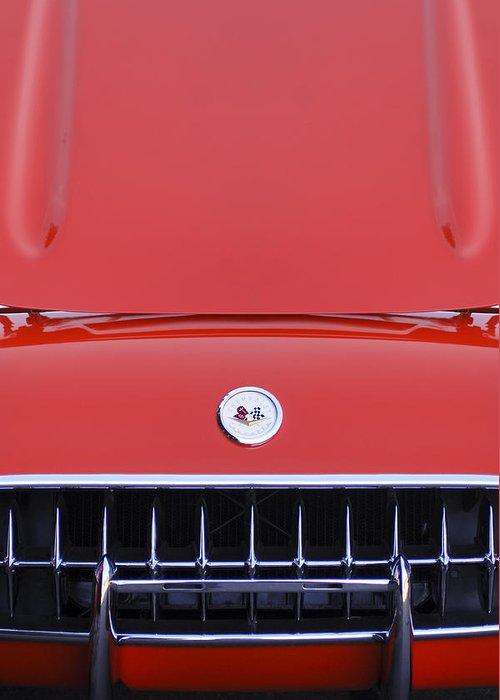 1957 Chevrolet Corvette Grille Greeting Card featuring the photograph 1957 Chevrolet Corvette Grille by Jill Reger