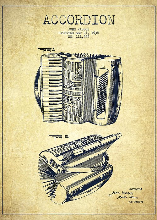 Accordion patent drawing from 1938 greeting card for sale by aged pixel accordion greeting card featuring the drawing accordion patent drawing from 1938 by aged pixel m4hsunfo