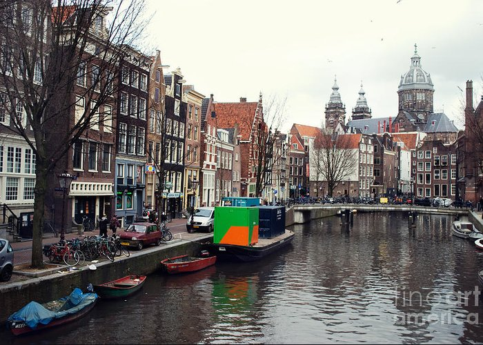 City Greeting Card featuring the photograph Amsterdam by Sarka Olehlova