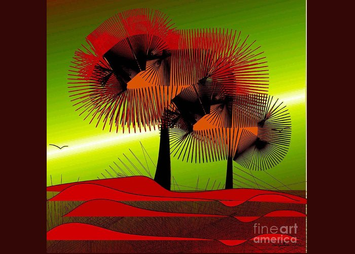 Abstract Greeting Card featuring the digital art Autumn Colours by Iris Gelbart