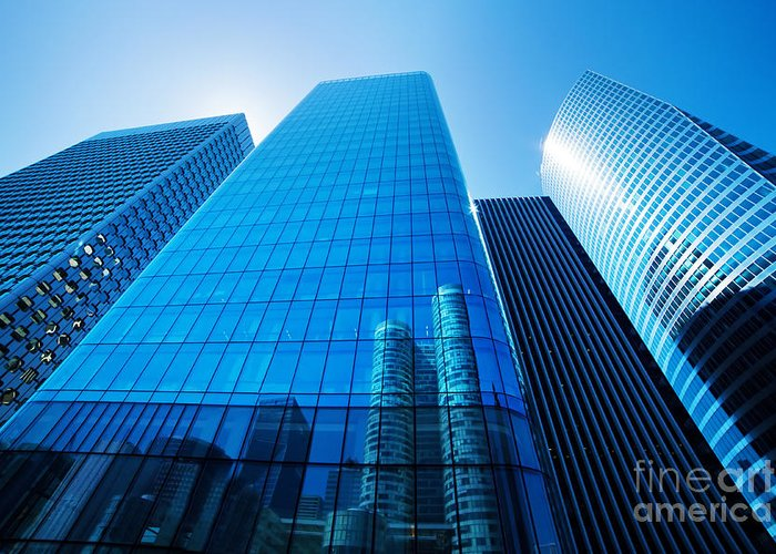 Skyscraper Greeting Card featuring the photograph Business Skyscrapers by Michal Bednarek