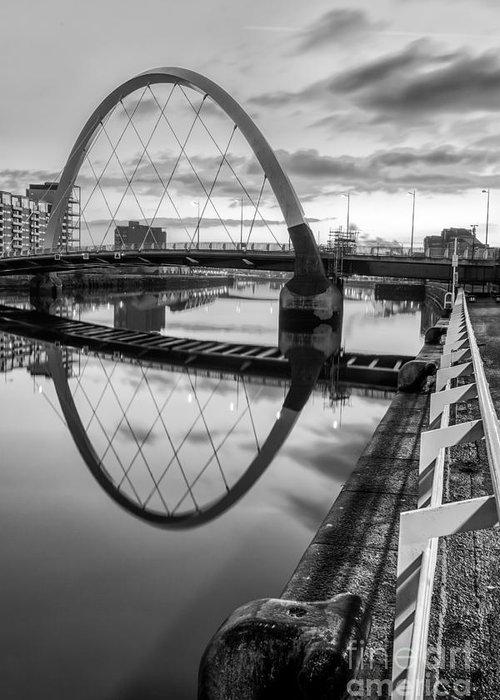 Glasgow Scene Greeting Card featuring the photograph Clyde Arc Squinty Bridge by John Farnan