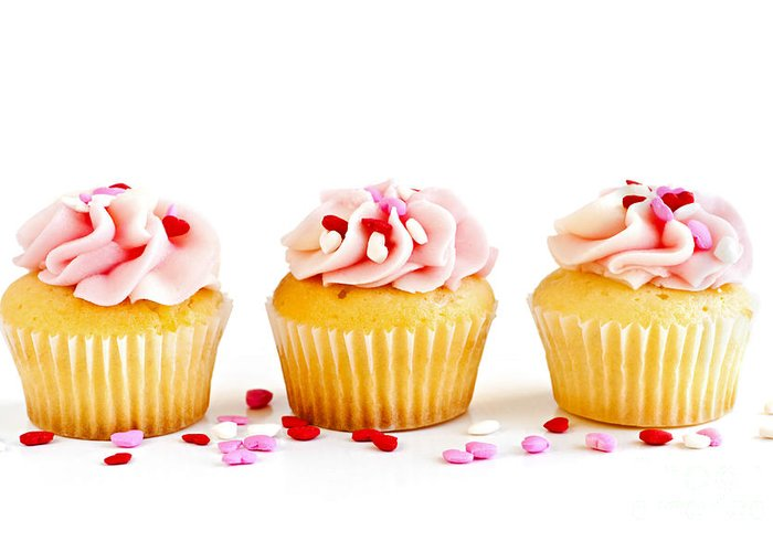 Row Greeting Card featuring the photograph Cupcakes by Elena Elisseeva