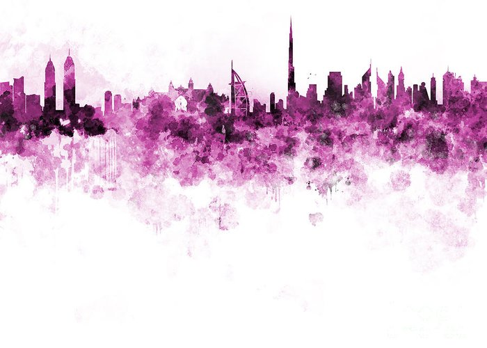 Dubai Skyline Greeting Card featuring the painting Dubai Skyline In Watercolour On White Background by Pablo Romero