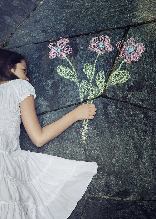 Girl Greeting Card featuring the photograph Flowers by Joana Kruse