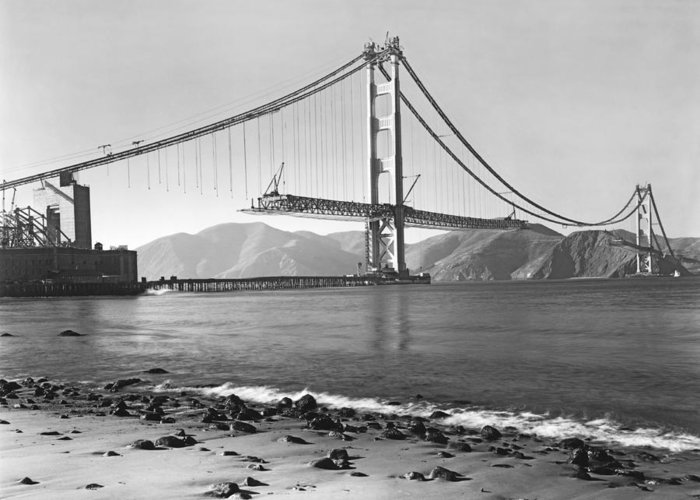 1937 Greeting Card featuring the photograph Golden Gate Bridge by Underwood Archives