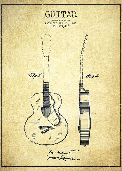 Guitar Patent Greeting Card featuring the drawing Gretsch Guitar Patent Drawing From 1941 - Vintage by Aged Pixel