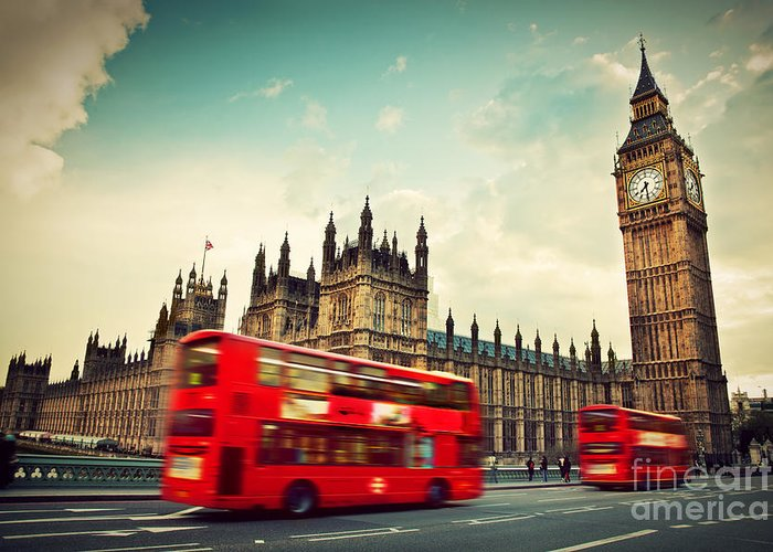 London Greeting Card featuring the photograph London Uk Red Bus In Motion And Big Ben by Michal Bednarek