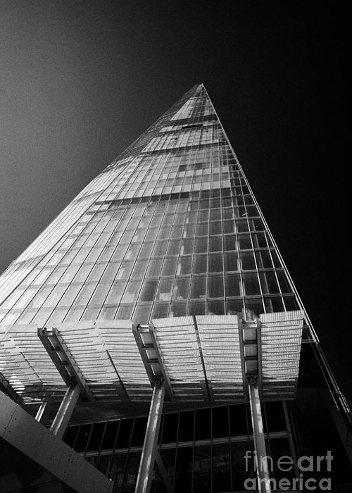 Shard Greeting Card featuring the photograph looking up at the shard building London England UK by Joe Fox