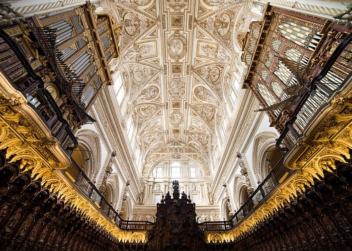 Mezquita Greeting Card featuring the photograph Mezquita Cathedral Interior In Cordoba by Artur Bogacki
