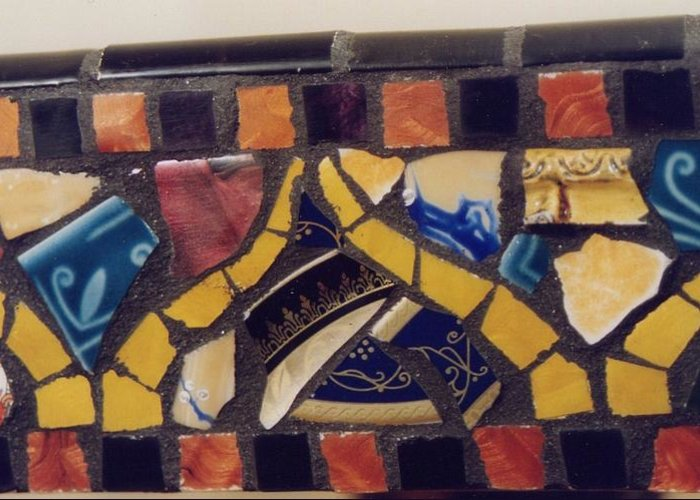 Mosaic Table Top Greeting Card featuring the ceramic art Mosaic Table Top by Charles Lucas
