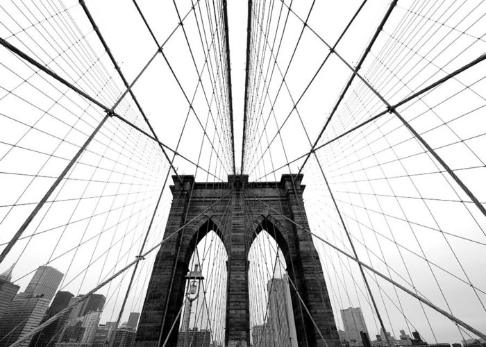 Ny Greeting Card featuring the photograph NYC Brooklyn Bridge by Nina Papiorek
