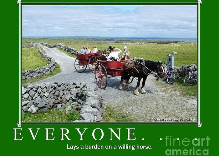 Horse And Trap Greeting Card featuring the photograph Old Irish Saying's by Joe Cashin