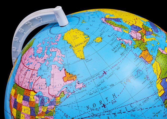 Map Of The World Globe View.Old Rotating World Map Globe Greeting Card