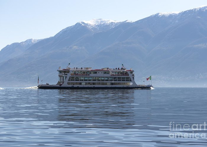 Passenger Ship Greeting Card featuring the photograph Passenger Ship On An Alpine Lake by Mats Silvan