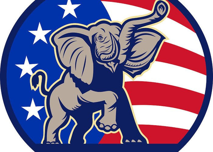 Elephant Greeting Card featuring the digital art Republican Elephant Mascot Usa Flag by Aloysius Patrimonio