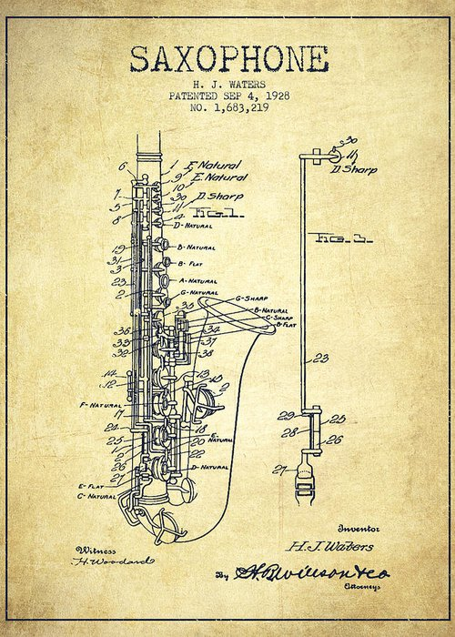 Saxophone Greeting Card featuring the drawing Saxophone Patent Drawing From 1928 by Aged Pixel