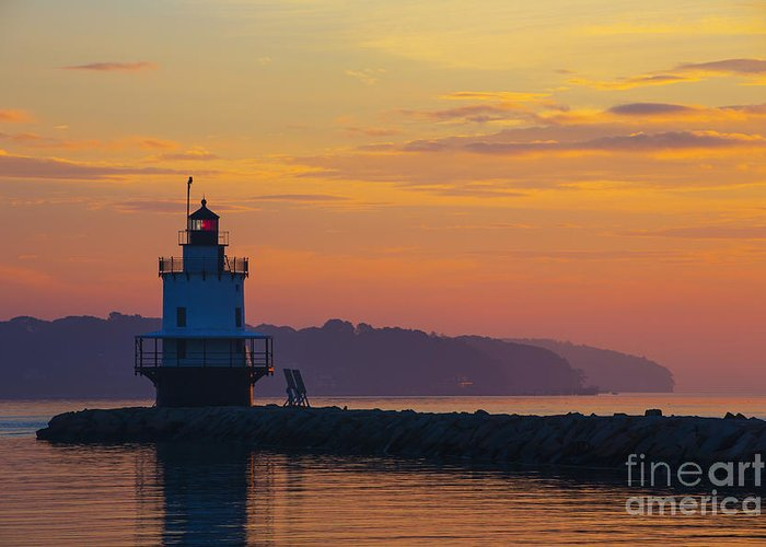 Spring Point Lighthouse Greeting Card featuring the photograph Sunrise At Spring Point Lighthouse by Diane Diederich