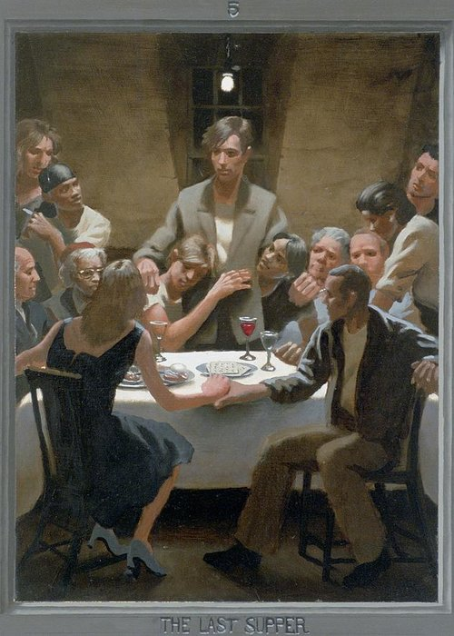 Jesus Greeting Card featuring the painting 5. The Last Supper / From The Passion Of Christ - A Gay Vision by Douglas Blanchard