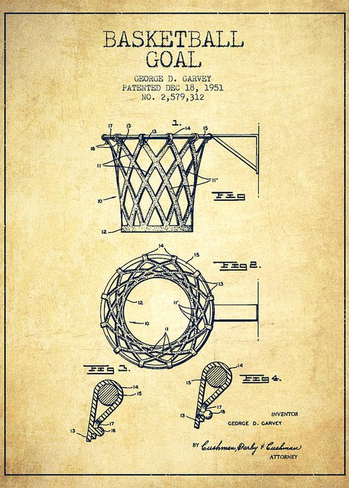 Hoop Patent Greeting Card featuring the drawing Vintage Basketball Goal Patent From 1951 by Aged Pixel