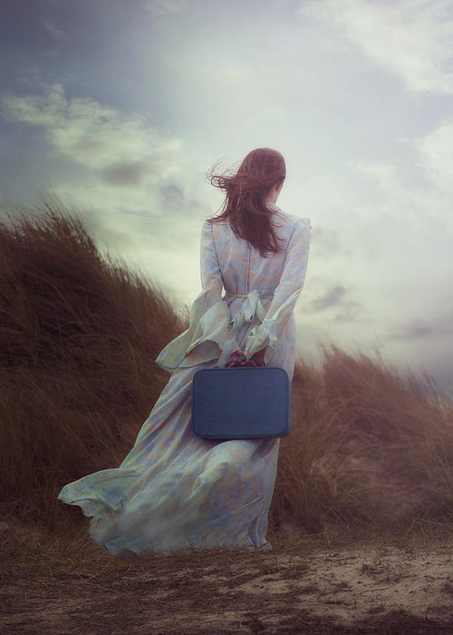Woman Greeting Card featuring the photograph Woman With Suitcase by Joana Kruse