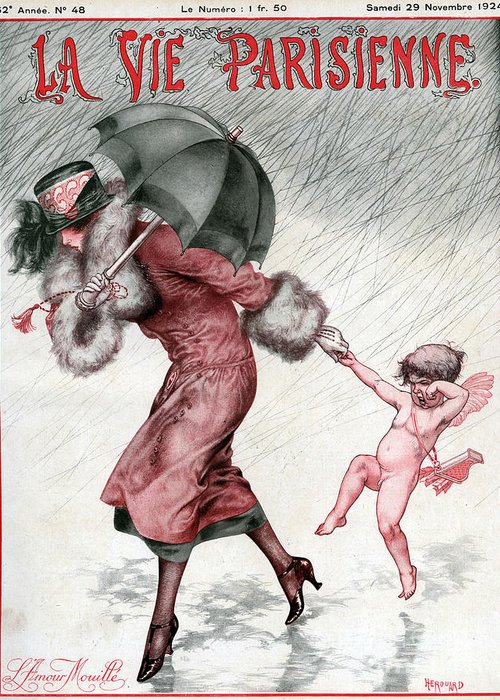 French Greeting Card featuring the drawing La Vie Parisienne 1924 1920s France by The Advertising Archives