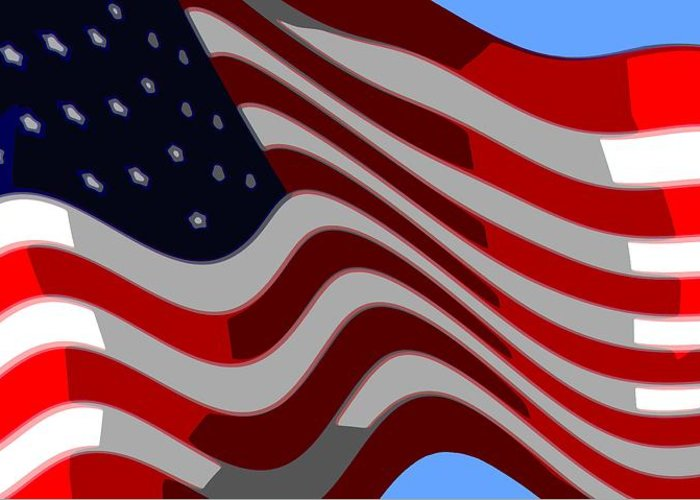 13 Greeting Card featuring the digital art 50 Star American Flag Closeup Abstract 6 by L Brown