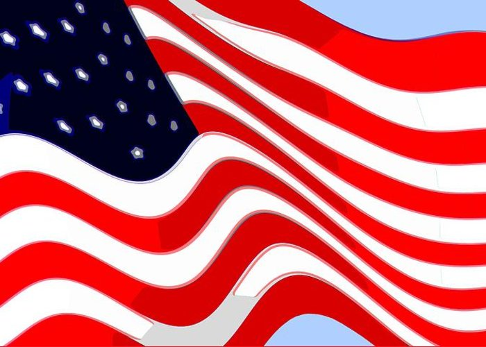 13 Greeting Card featuring the photograph 50 Star American Flag Closeup Abstract 8 by L Brown