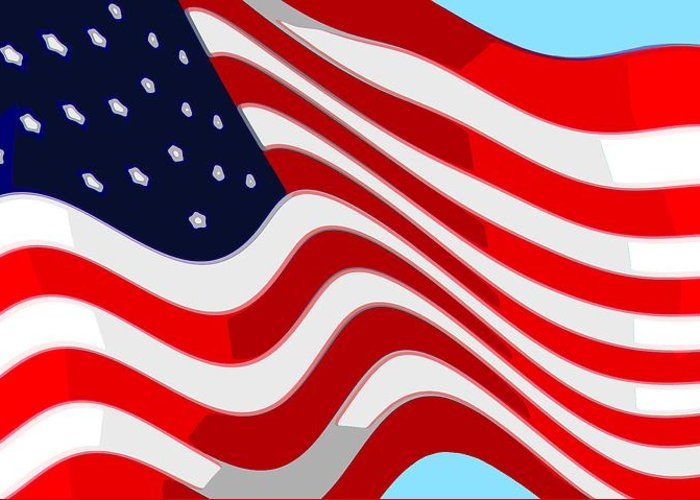 13 Greeting Card featuring the digital art 50 Star American Flag Closeup Abstract 9 by L Brown