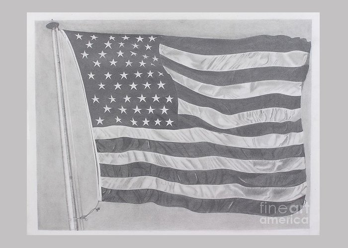 Flag Greeting Card featuring the pastel 50 Stars 13 Stripes by Wil Golden