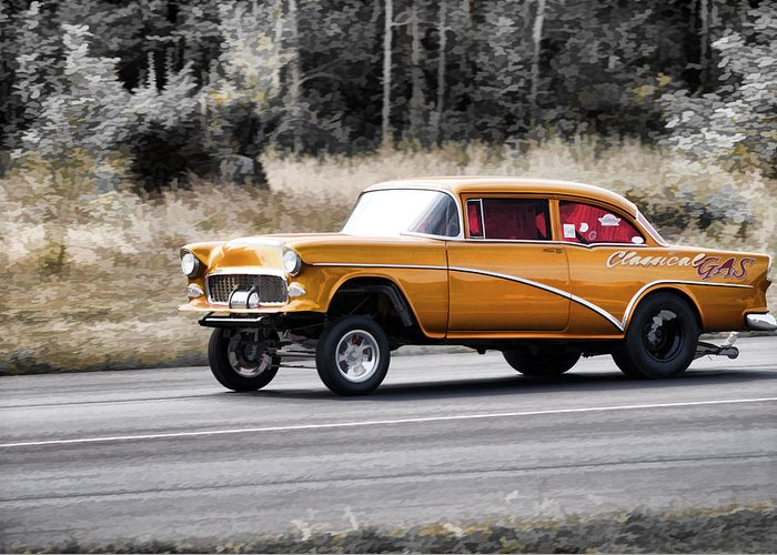 55 Chevy Gasser Racing Greeting Card For Sale By Steve McKinzie