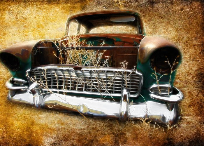 Rust Greeting Card featuring the photograph 55 Chevy by Steve McKinzie