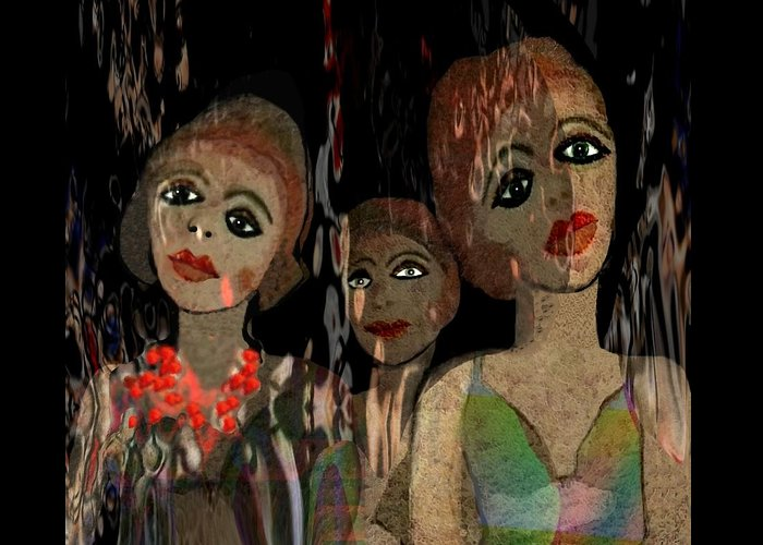 Girl Greeting Card featuring the digital art 562 - Three Young Girls  by Irmgard Schoendorf Welch